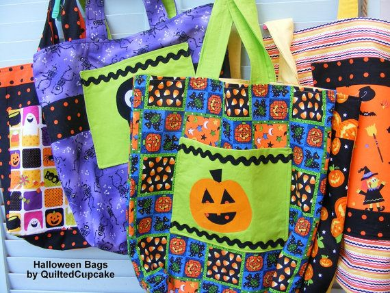 Halloween Bag Kids Trick or Treat Bag Cotton by QuiltedCupcake, $14.00