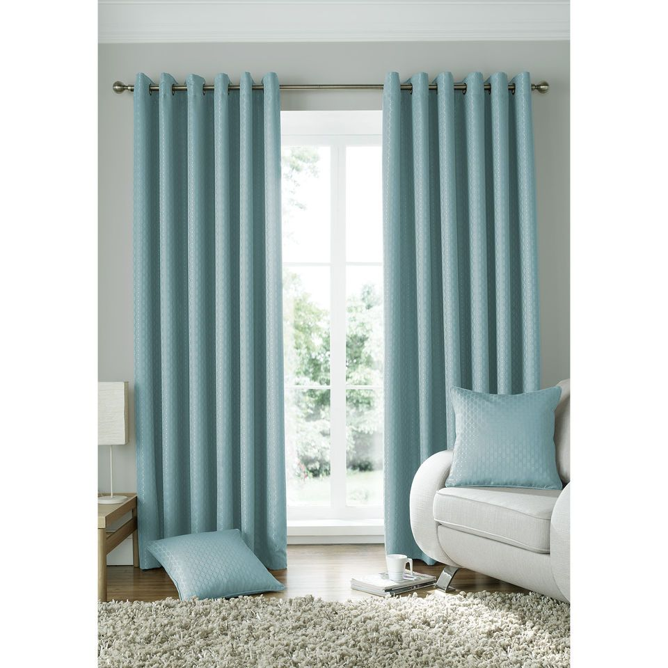 Modern Geometric Square Curtain Woven Jacquard Duck Egg Blue Eyelet Curtain Pair