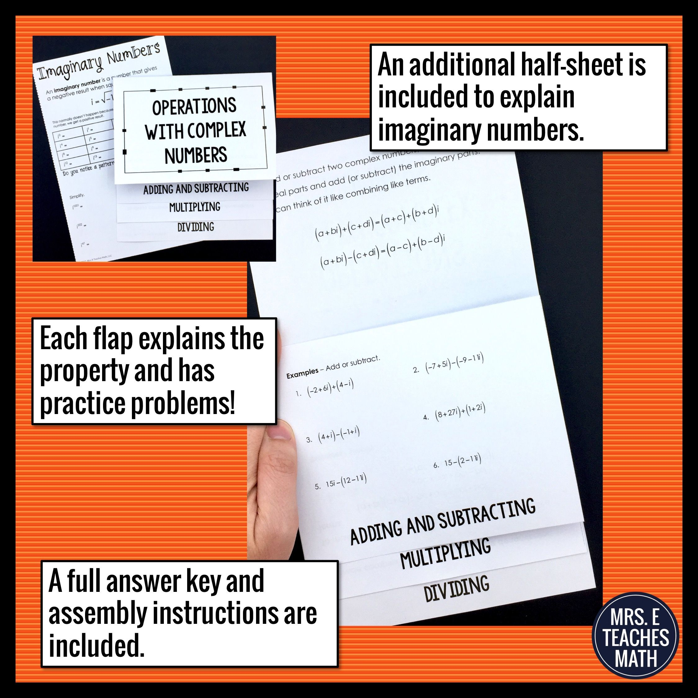 Operations With Complex Numbers Flipbook And Imaginary Numbers Complex Numbers Algebraic Thinking Adding And Subtracting Adding subtracting multiplying complex