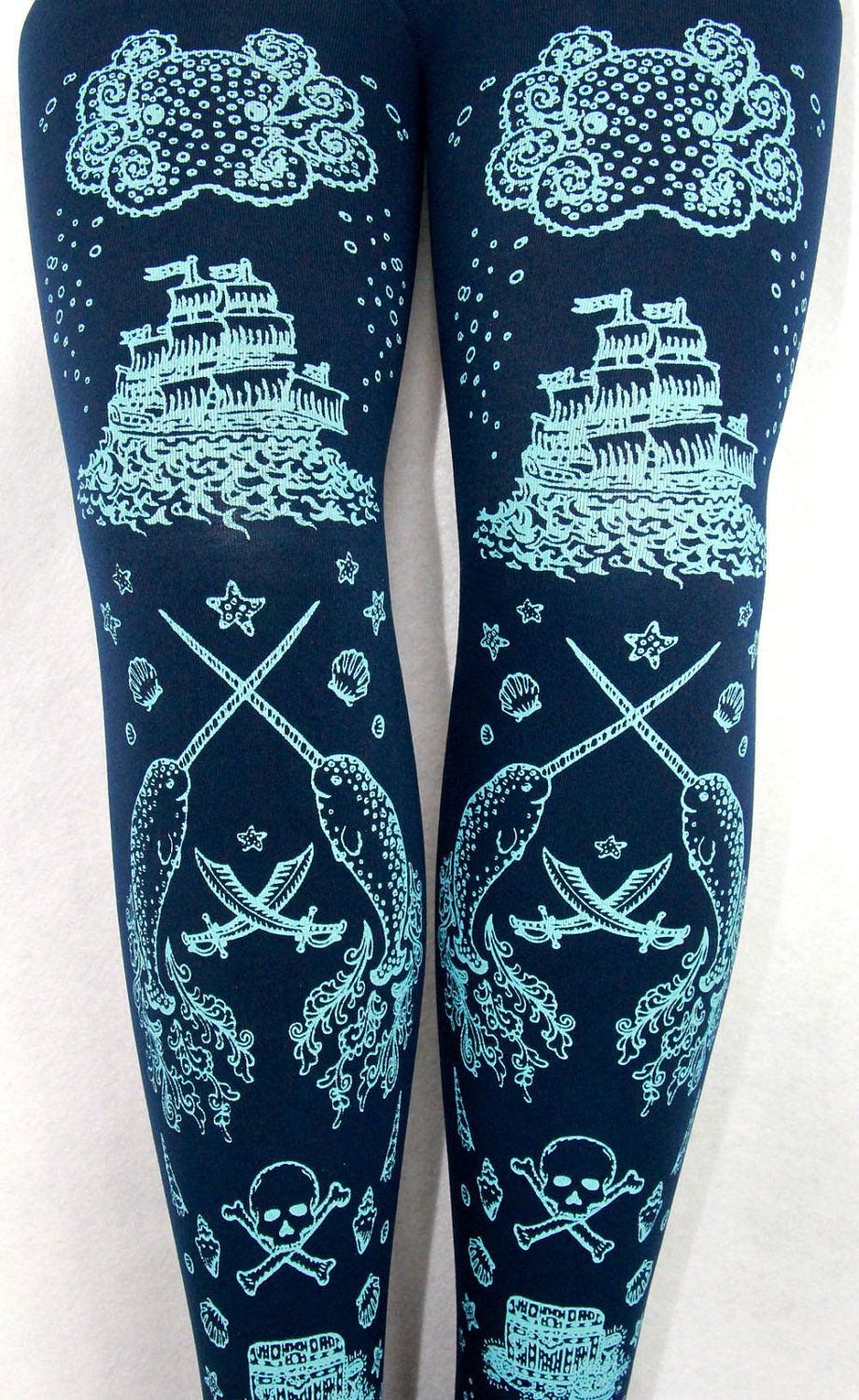 Pirate Narwhal Printed Tights Tattoo Small Blue Navy Womens ...