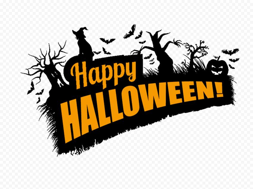 Happy Halloween Logo Witch Trees Pumpkins In 2020 Halloween Logo Happy Halloween Halloween