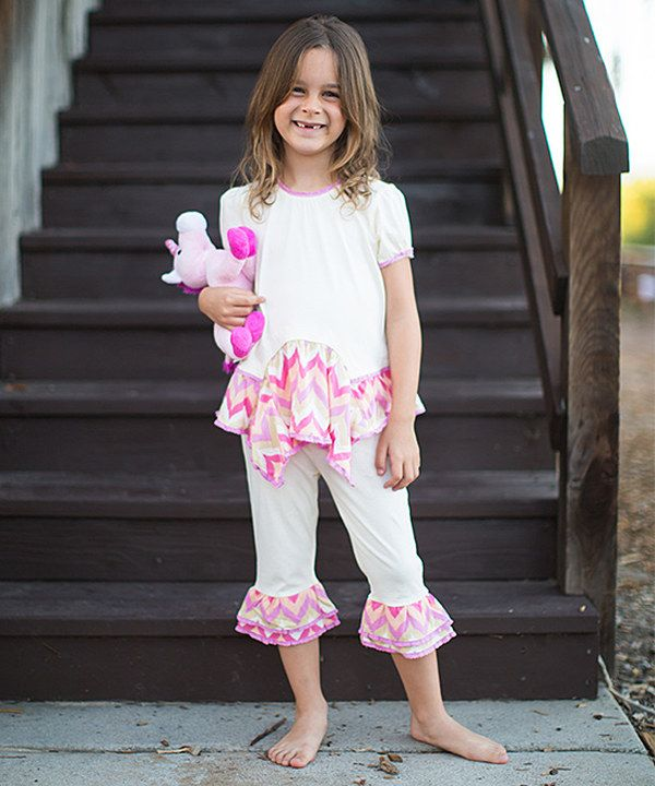 Look at this Ivory & Pink Tunic & Leggings - Infant, Toddler & Girls on #zulily today!