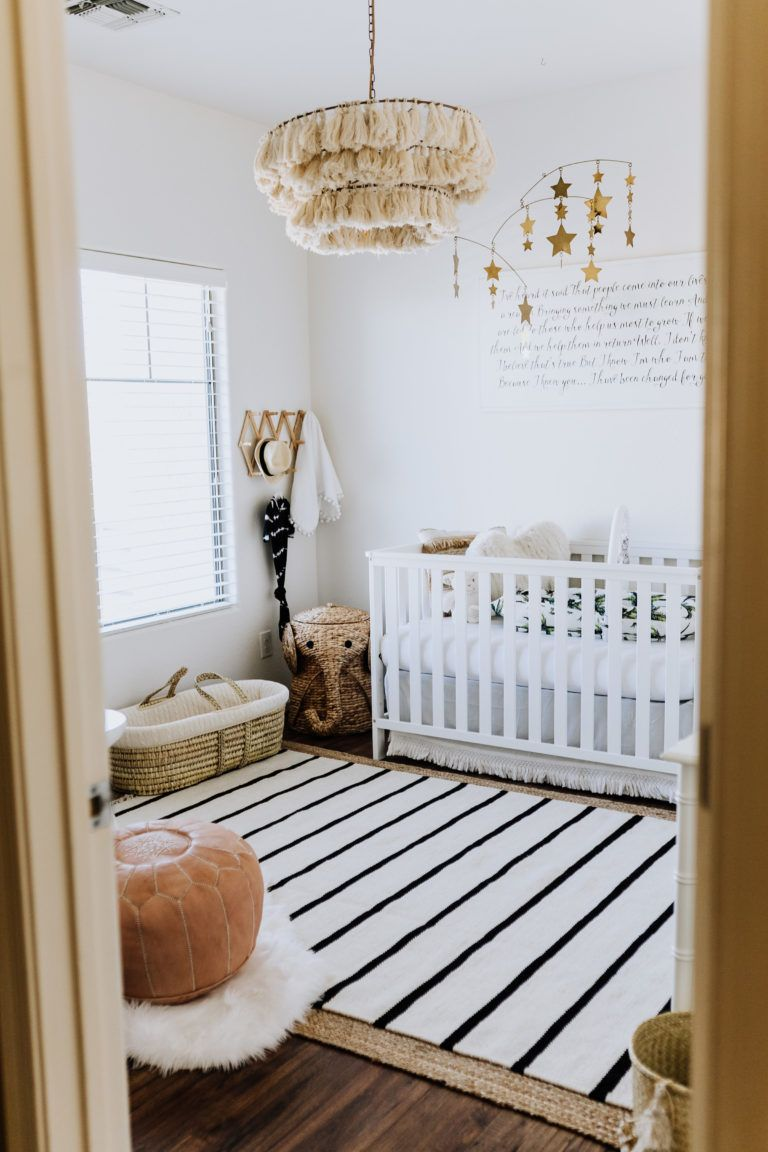 We Love Everything About This Boho Nursery The Fela Light Fixture Black And White Striped Rug