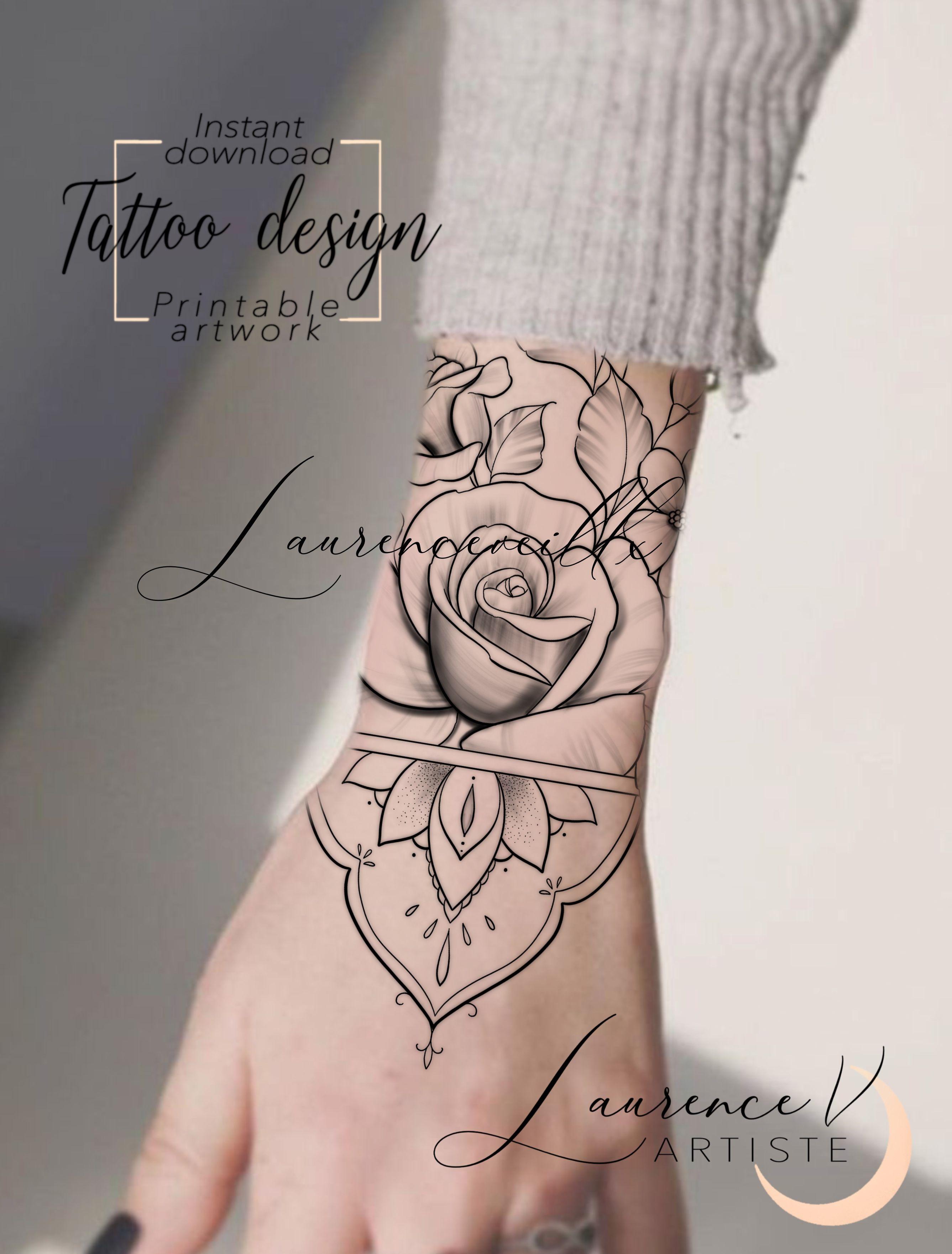 Roses Mandala Wrist Hand Tattoo Design Available On Etsy Laurenceveillx In 2020 Hand Tattoos Wrist Hand Tattoo Tattoos