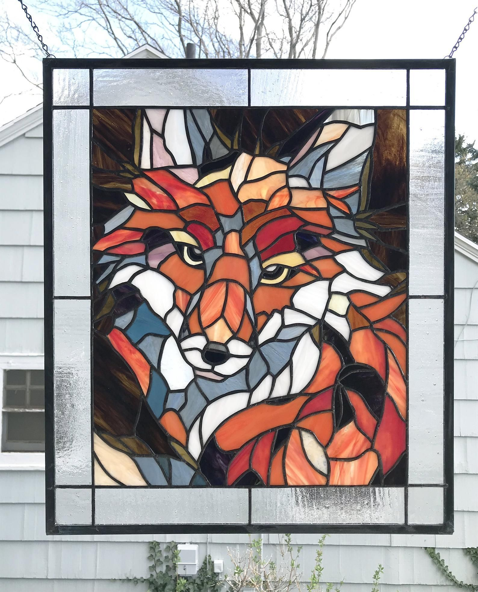 Stained Glass Panel--Fox Portrait  -- 21