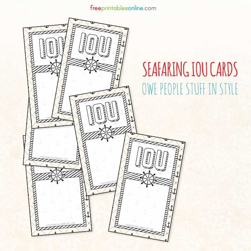 Maritime Themed Printable IOU Coupons
