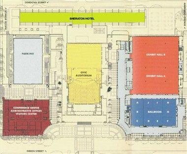 Layout of pasadena convention center next door at for Pasadena floors