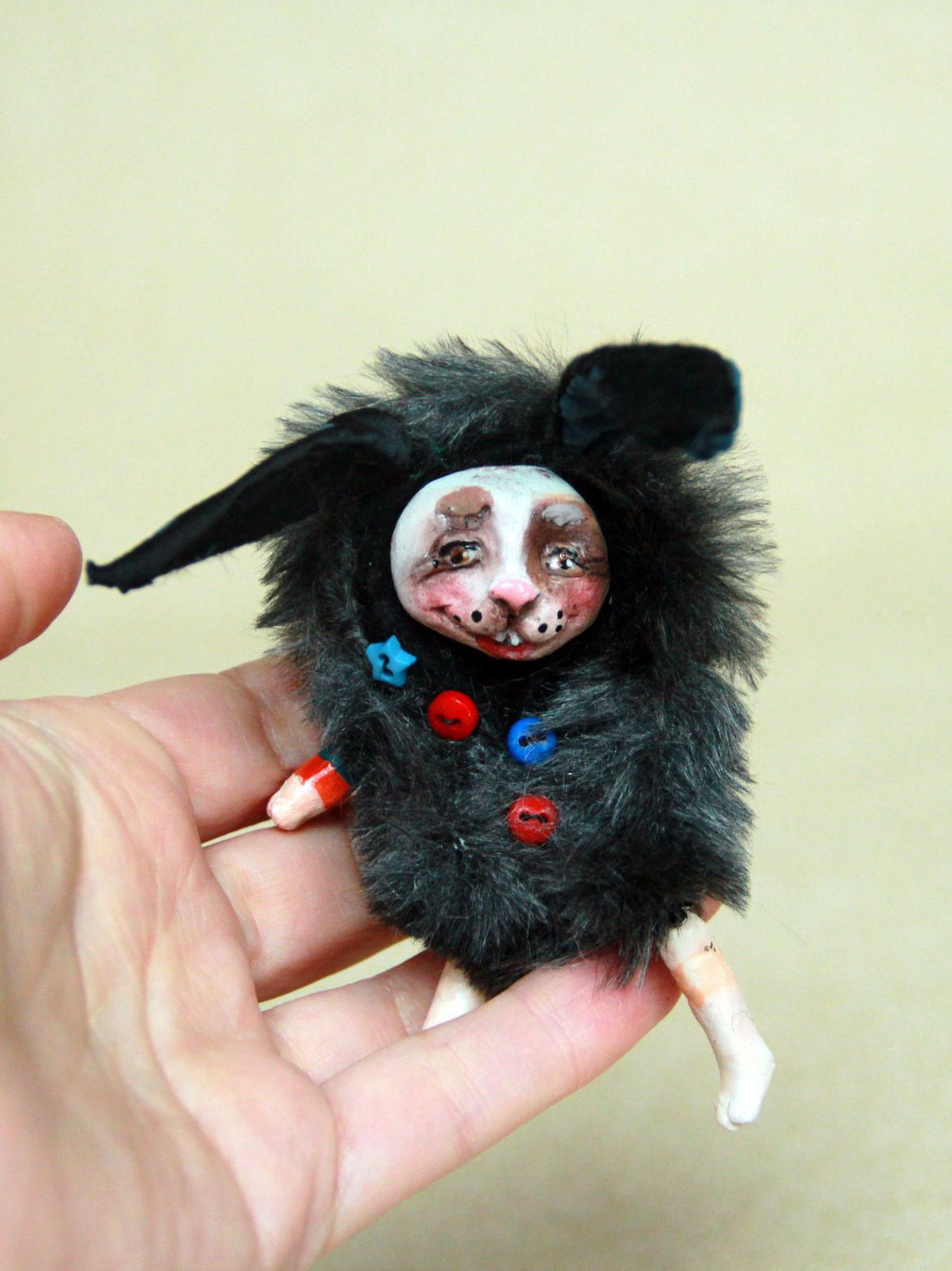 Horror Decor Black Rabbit Doll Bunny Rabbit Toy Bunny Lovers Gifts For Pet Lovers