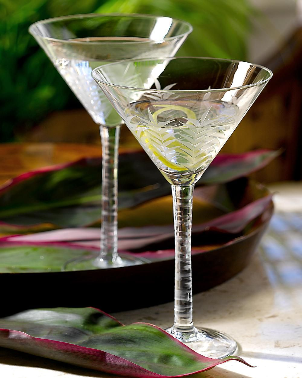Tommy Bahama Etched Martini Glasses Jimmy Etched