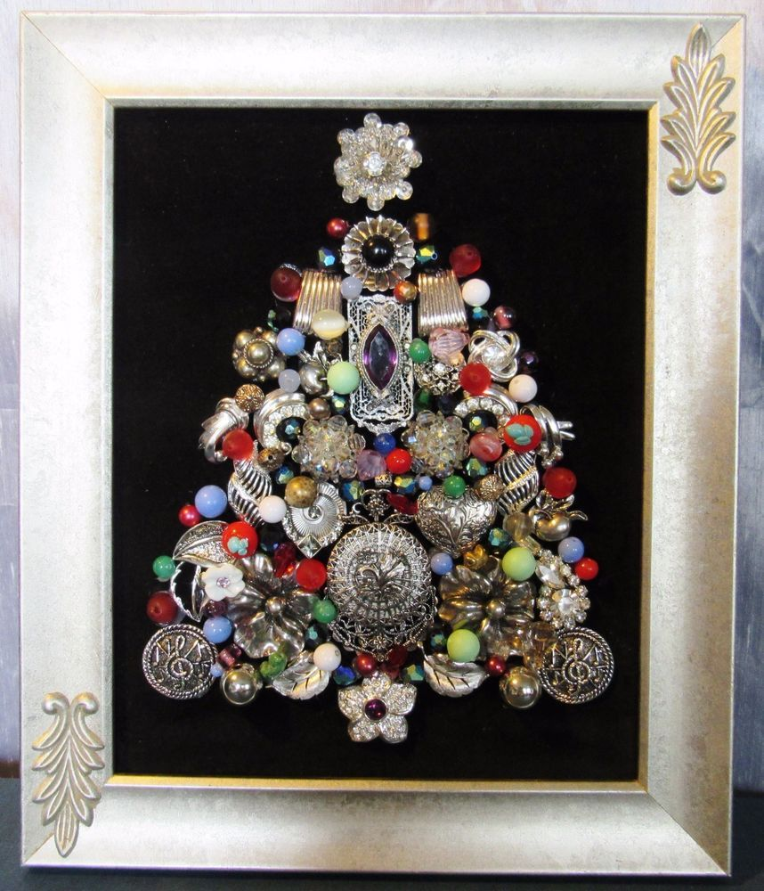 Vintage Jewelry Ooak Christmas Tree Framed Picture Art T