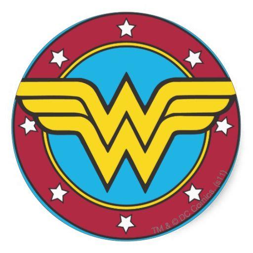 Wonder Woman Circle Stars Logo Classic Round Sticker Zazzle Co Uk Wonder Woman Logo Wonder Woman Comic Wonder Woman