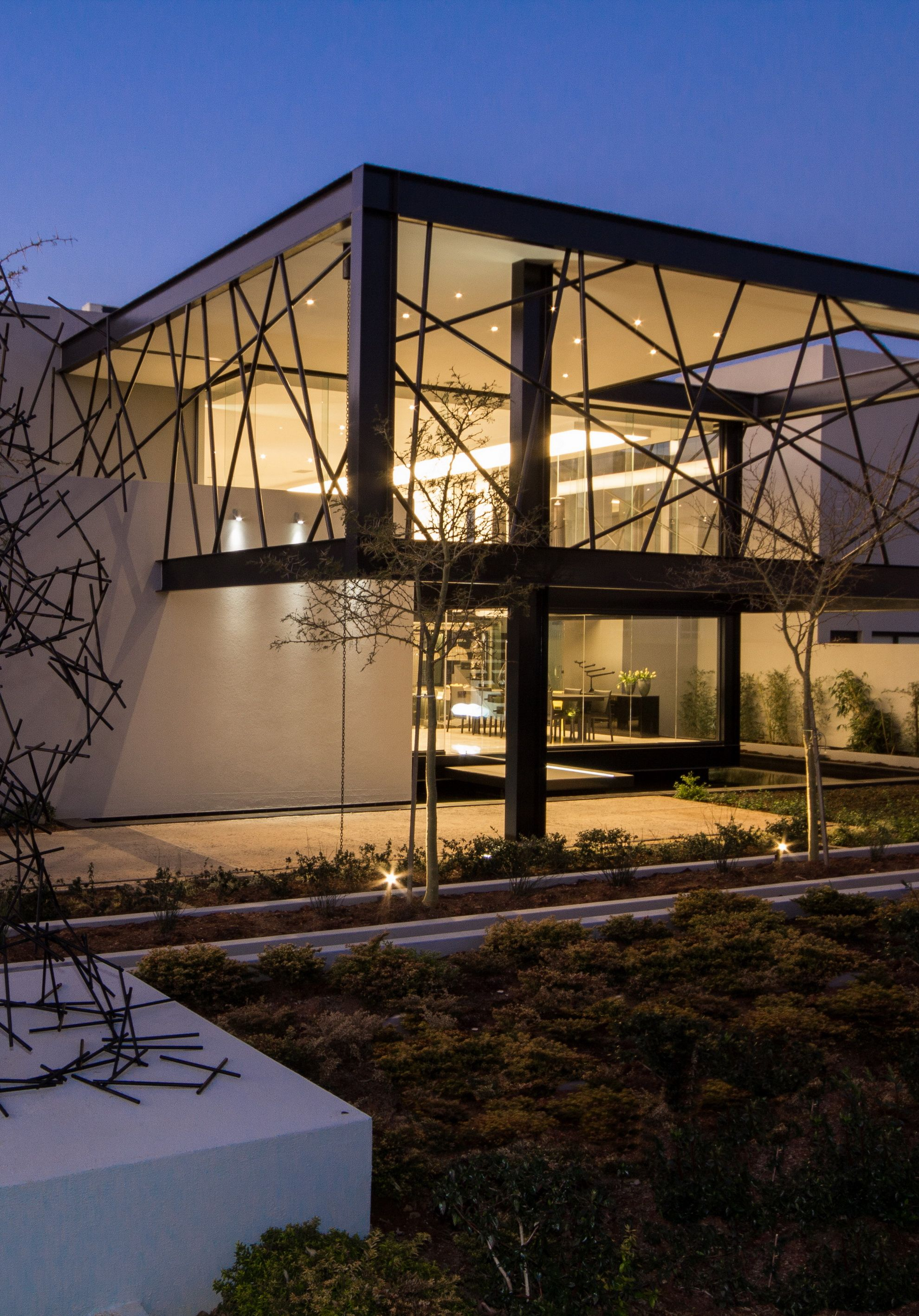 House Ber | Cantilevered Boxes Enclosed By Black Steel Bars | Nico Van Der  Meulen Architects
