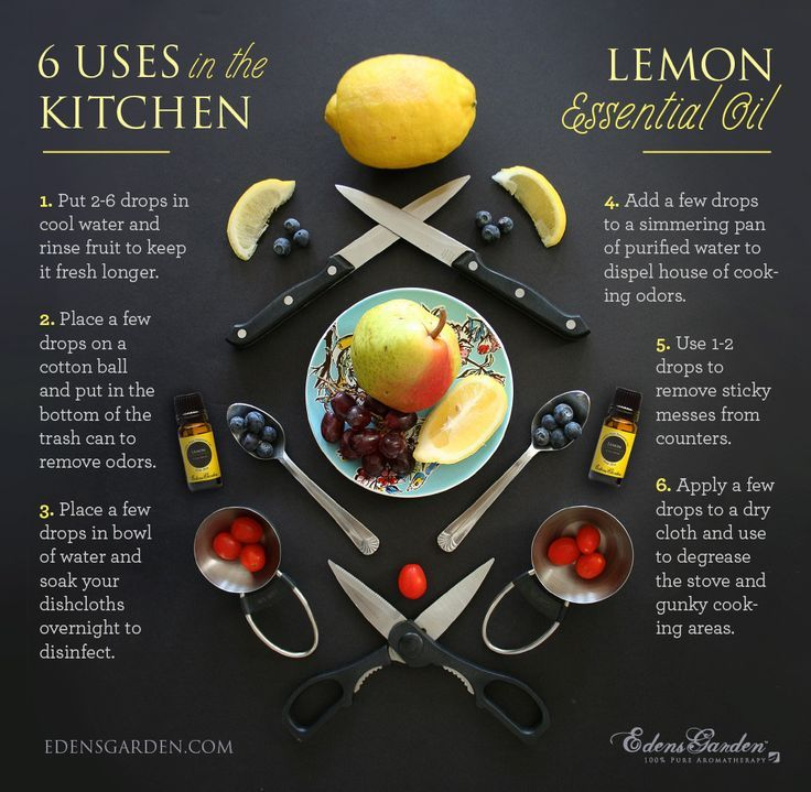 Lemon Essential Oil has many amazing uses! Here's our favorite 6 for in the kitchen. Need this oil? We offer 100 pure therapeutic grade essential oils at Edens Garden. This oil is available in 5 sizes, all at affordable prices.