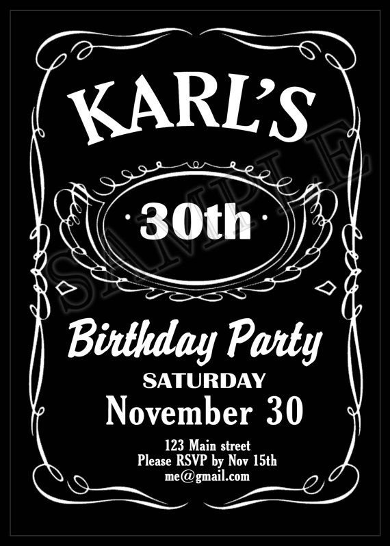 Printable Jack Daniels Themed Birthday Party Invitation You Print Digitalfile On Etsy Jack Daniels Birthday Unique Birthday Invitations Jack Daniels Party