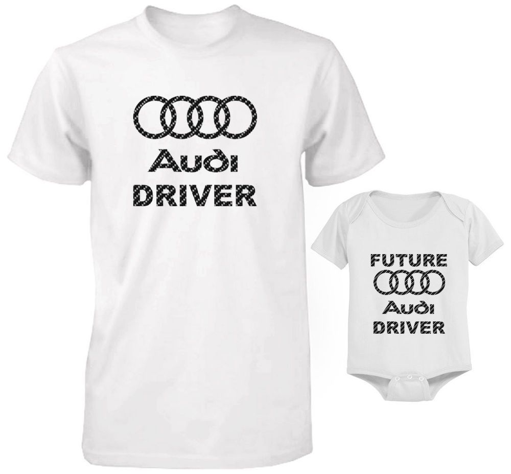 e0307380f CARBON FIBER DAD AND BABY T-SHIRT AND BODYSUIT AUDI DRIVER AND FUTURE  DRIVER SET #Unbranded