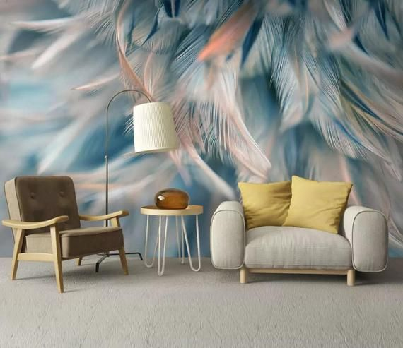 3d Blue Soft Feather Wallpaper Removable Self Adhesive Etsy Feather Wallpaper Home Wallpaper Custom Photo Wallpaper