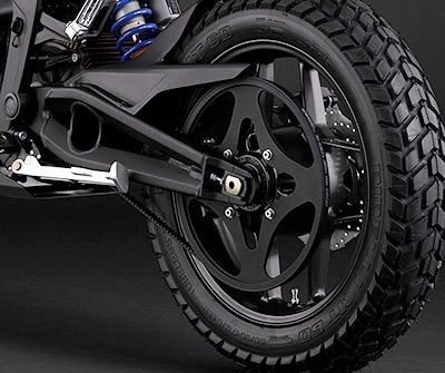 Zero Motorcycles Powertrain - huge rear cog - 28T-132T gear ratio. Motor reaches 4,300rpm at peak power output.