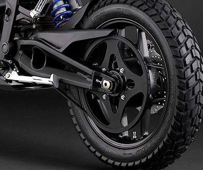 Zero Motorcycles Powertrain - huge rear cog - 28T-132T gear ratio. Motor reaches 4,300rpm at peak power output.