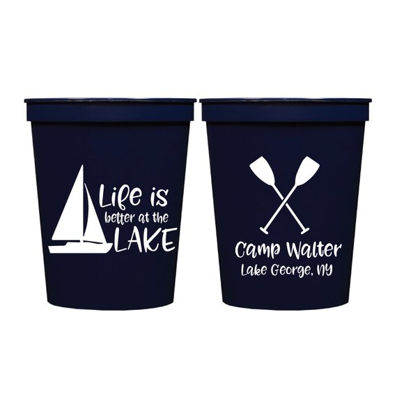 25 Nautical Sailboat Plastic Party Cups