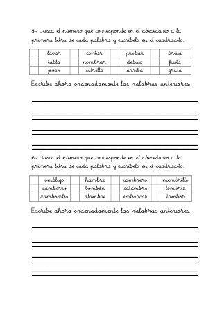 Ordenar Alfabéticamente 1 Ejercicio Pontevedra Almeria