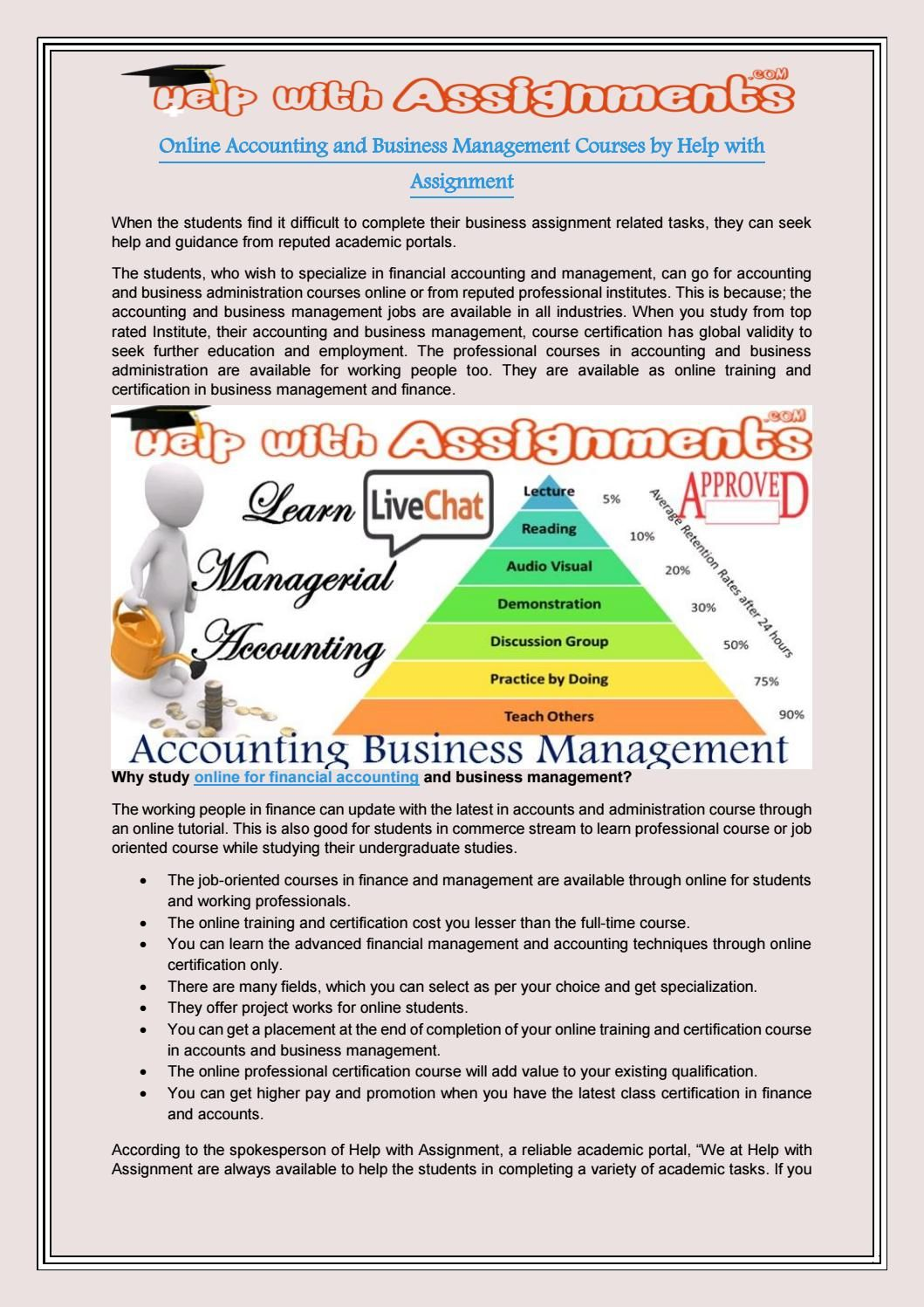 Online accounting and business management courses by help with assignment