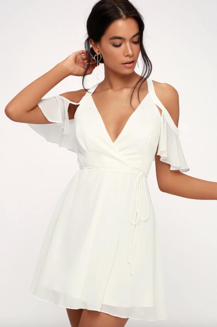 Bombshell White Off The Shoulder Wrap Dress Bachelorette Party Dress White Dress Cocktail Dress Bridal Shower Dress Wrap Dress Dresses Summer Cocktail Dress [ 1127 x 750 Pixel ]
