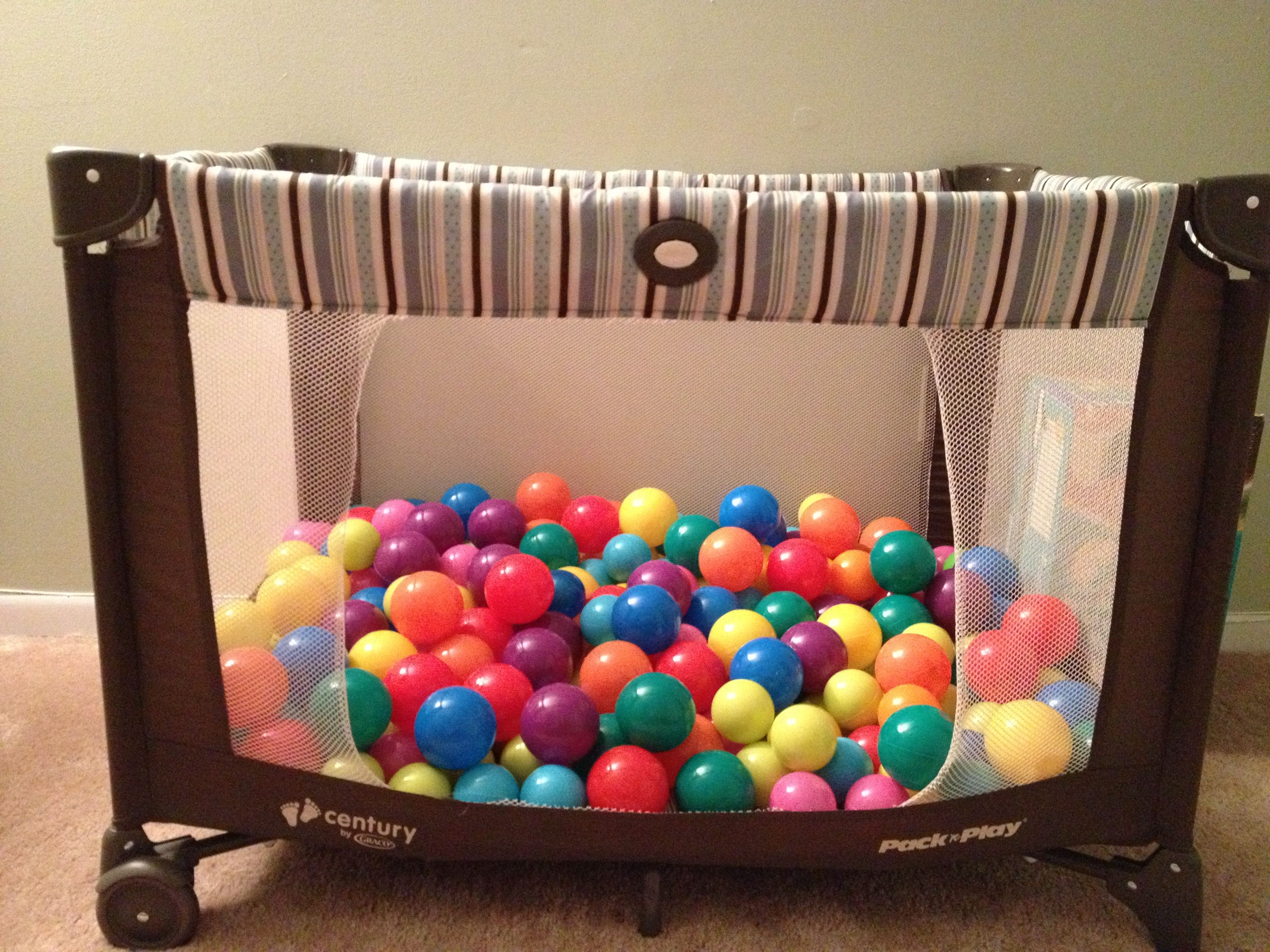 Best Idea Ever For Your Old Pack N Play Get Balls And Cut A Hole In