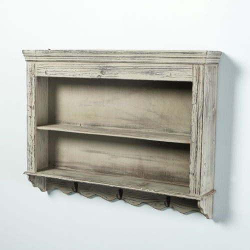 Vintage Shabby Chic Distressed Wooden Wall Shelves Shelving Unit 3 Coat
