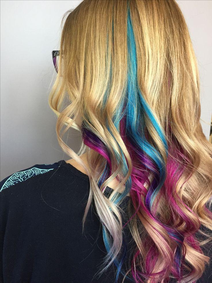 Pink Purple And Blue Teal Peekaboo Highlights Under Blonde Unicorn Hair Mermaid Hair Peekaboo Hair Mermaid Hair Color Teal And Purple Hair