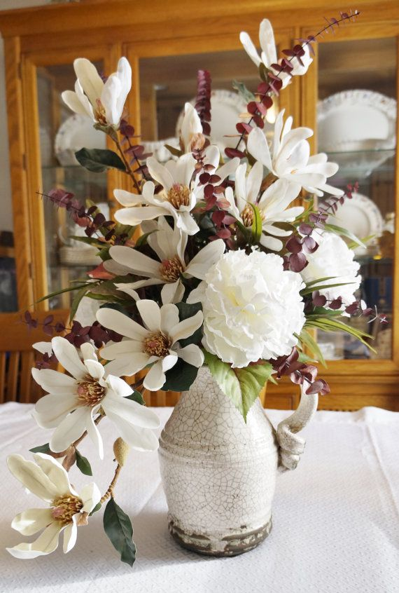 Mornings And Magnolias Home Decor Silk Floral Arrangement Floral Decor Decoracao Frascos