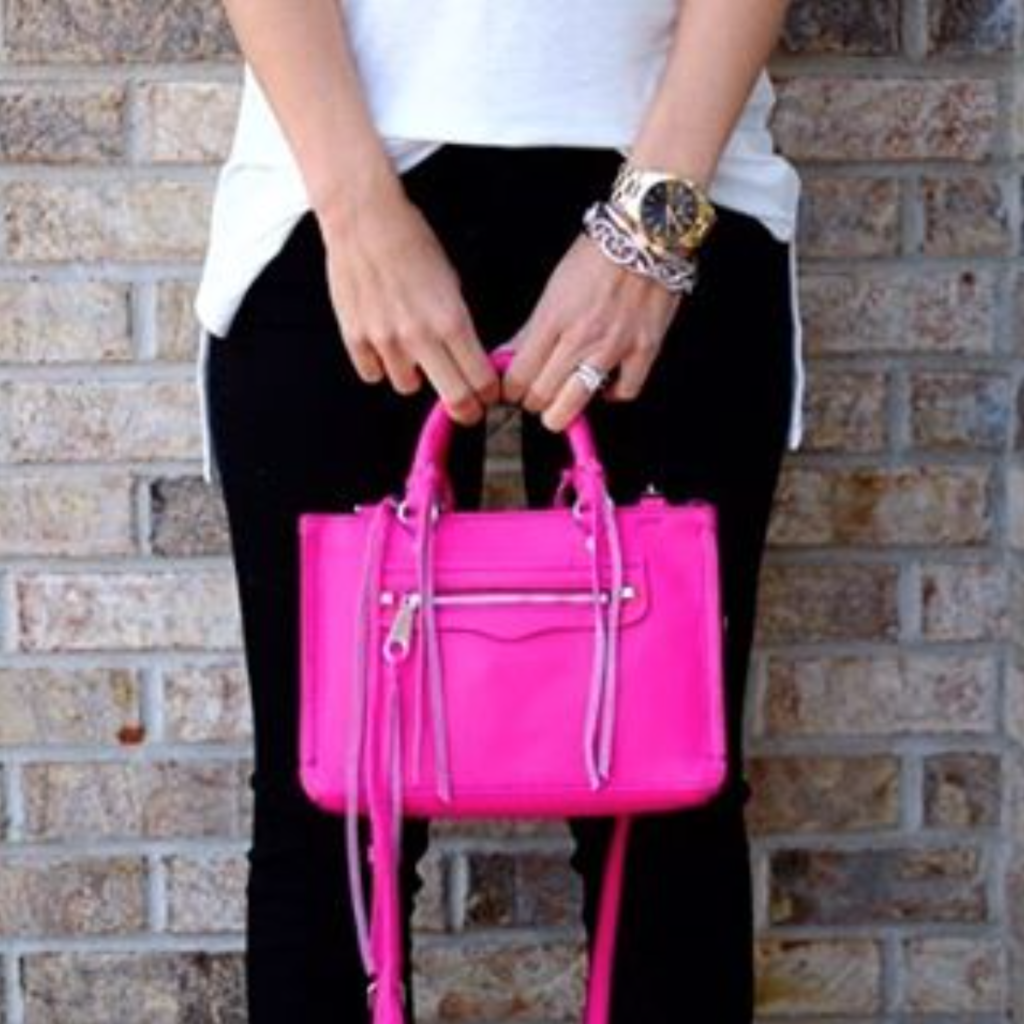 Ig Mrscasual Click Through To This Look Hot Pink Rebecca Minkoff Micro Regan Cross Body Black Skinny Jeans