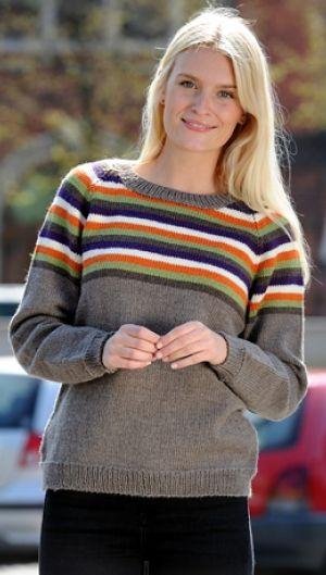 e4d4574b Gratis strikkeopskrifter | Strikket sweater med striber | Klassiske  raglan-sweater