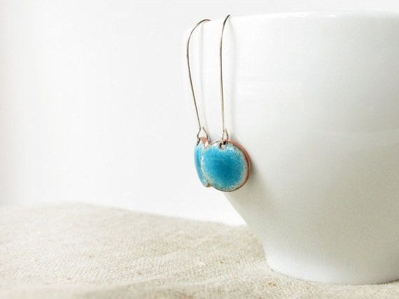 Enamel earrings dangle drop teal blue aqua round dots by alery, $32.00