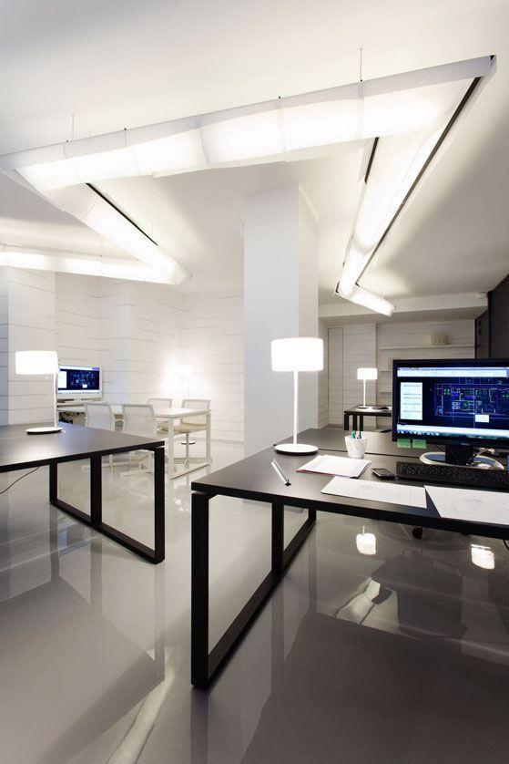 Sleek, modern office interior - straight lines, block-like, geometric shapes