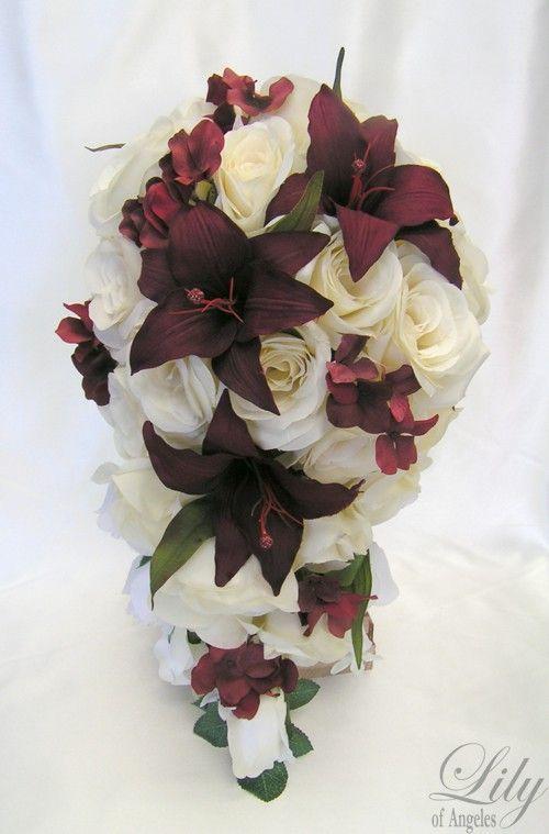 17 Pieces Package Silk Flower Wedding Decoration Bridal Cascade ...