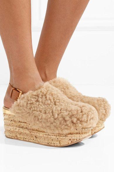 Camille Leather-trimmed Shearling Platform Slingback Sandals - Beige Chloé gCDcKShp