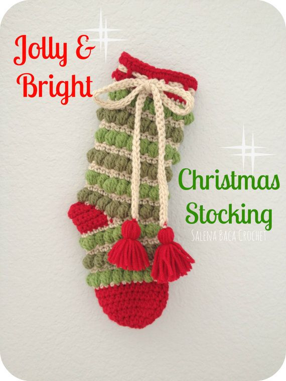 PDF Crochet Pattern - Jolly and Bright Christmas Stocking - Gift ...