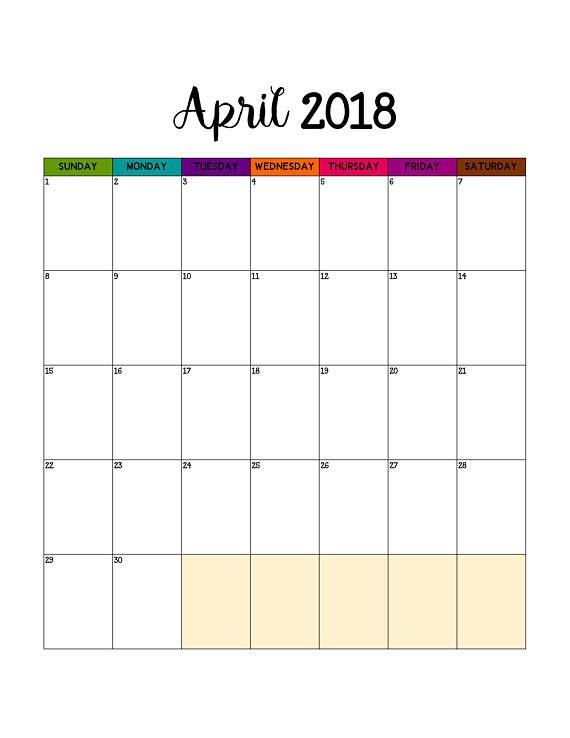 Big Calendar Planner : Monthly calendar printable may april