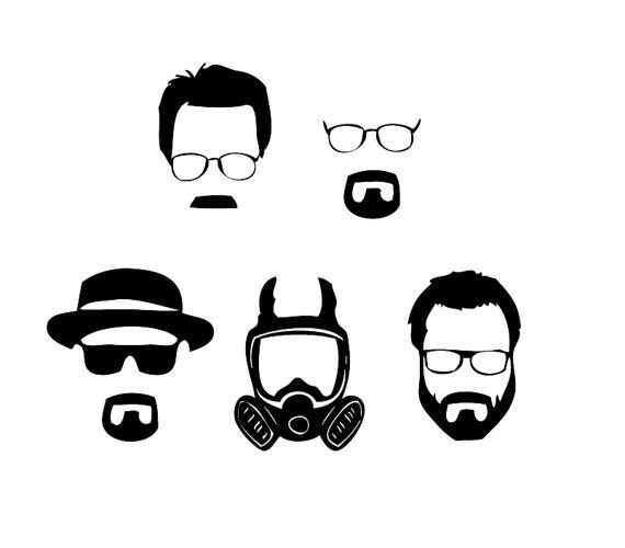 Set of 5 breaking bad vinyl sticker decals walter white heisenburg chrystal meth blue meth bb walt on etsy 6 95 cute pinterest breaking bad