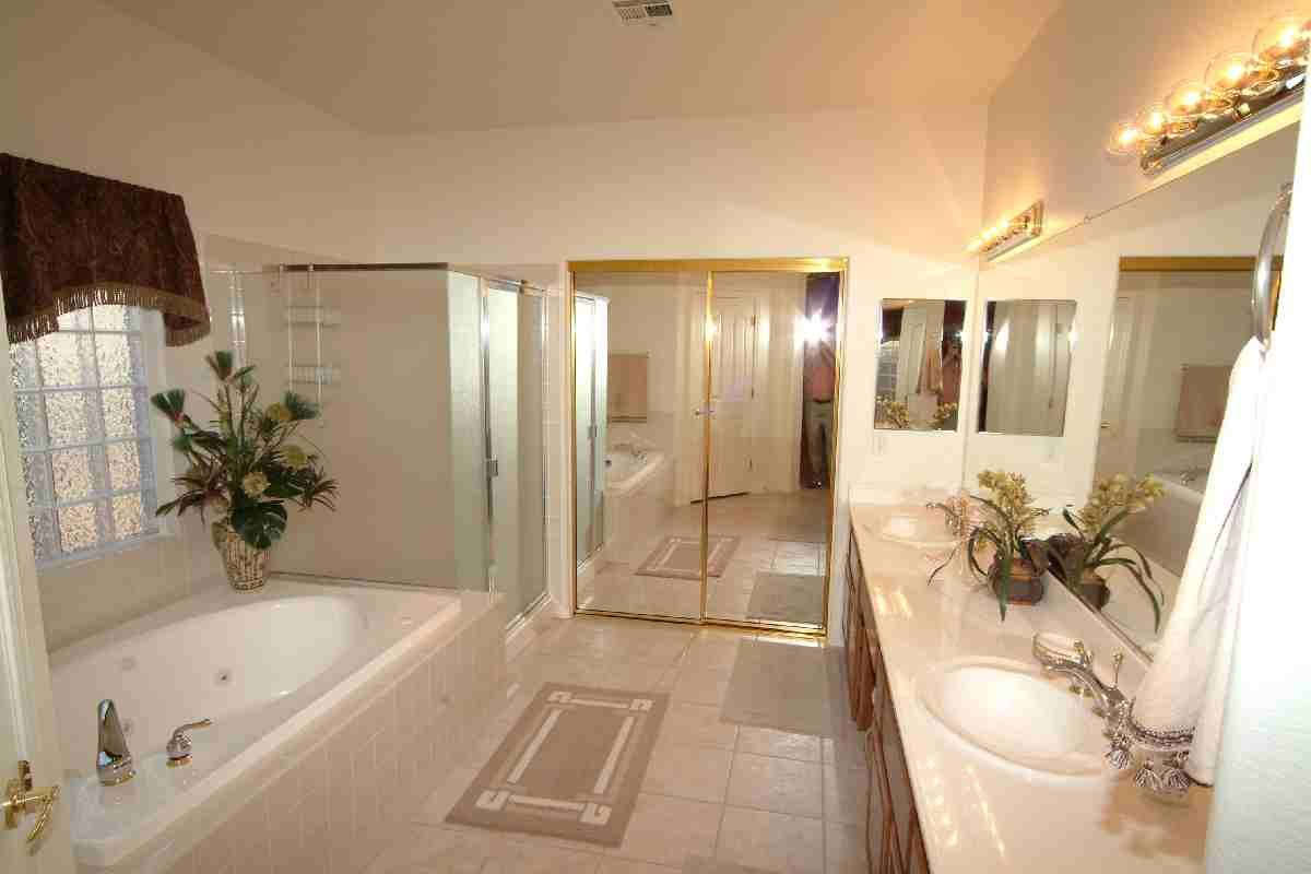 large master bathroom with a jacuzzi and seperate shower a gift from god