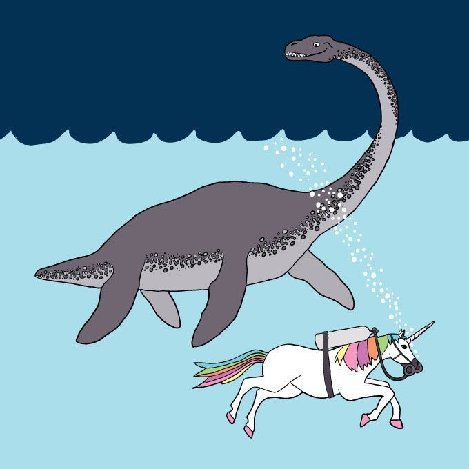 Loch Ness Monster And Unicorn Swimming Buddies 8x8 Print