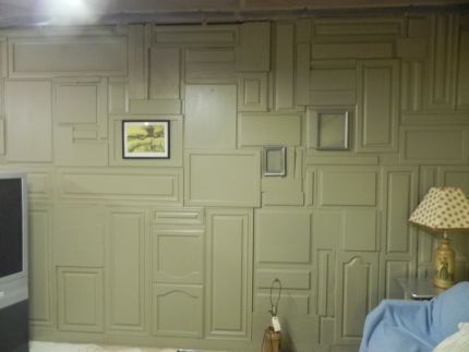 Believe it or not the entire wall is various cabinet doors! I think this & Believe it or not the entire wall is various cabinet doors! I ... Pezcame.Com