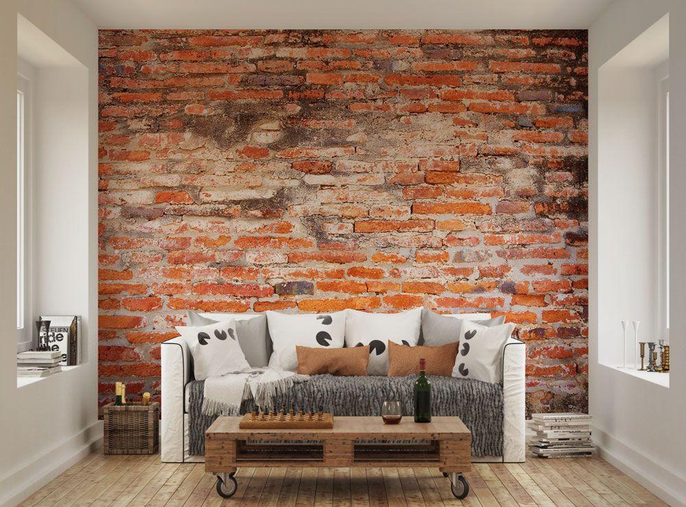 Red Brick Wallpaper Mural Ohpopsi Brick Wallpaper Living Room