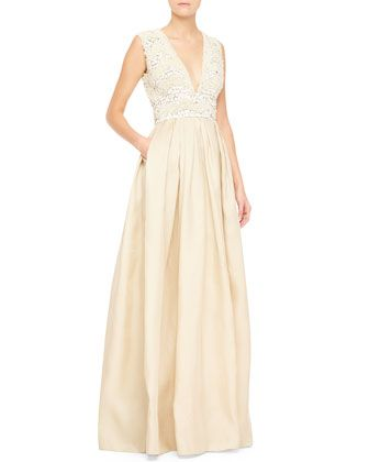 34209d59 Sleeveless Embellished-Bodice Gown, White/Nude by Naeem Khan at Bergdorf  Goodman.