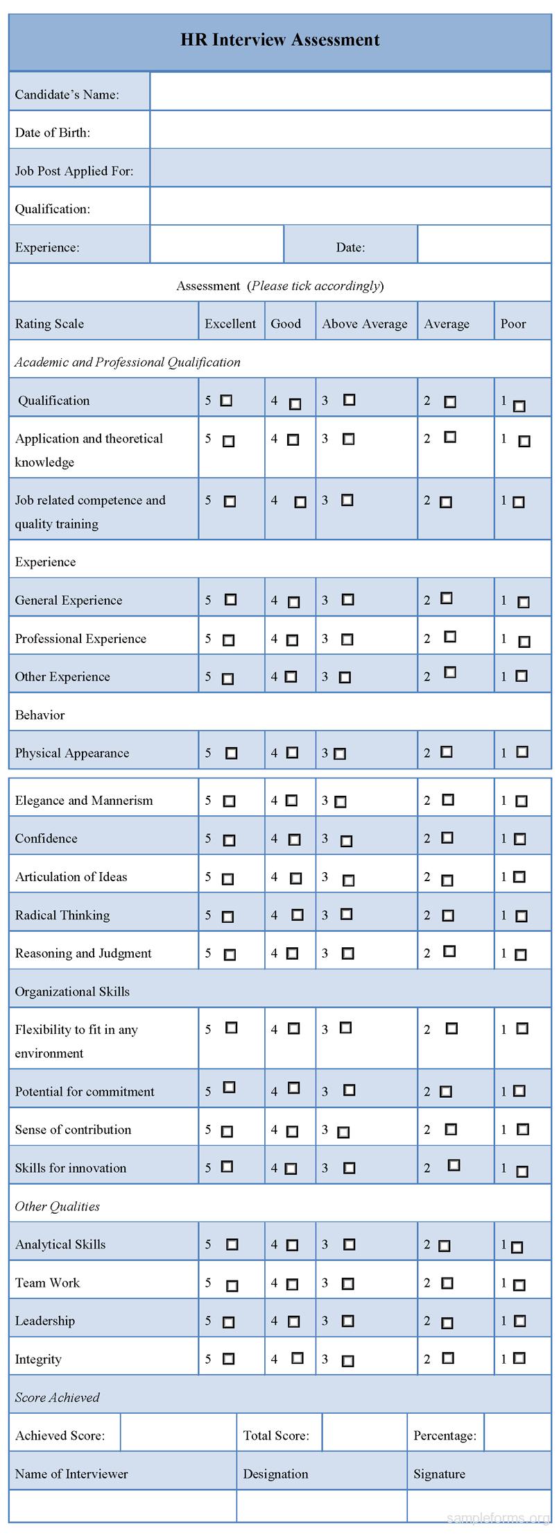 HR Interview Assessment Form   forms   Pinterest   Hr interview
