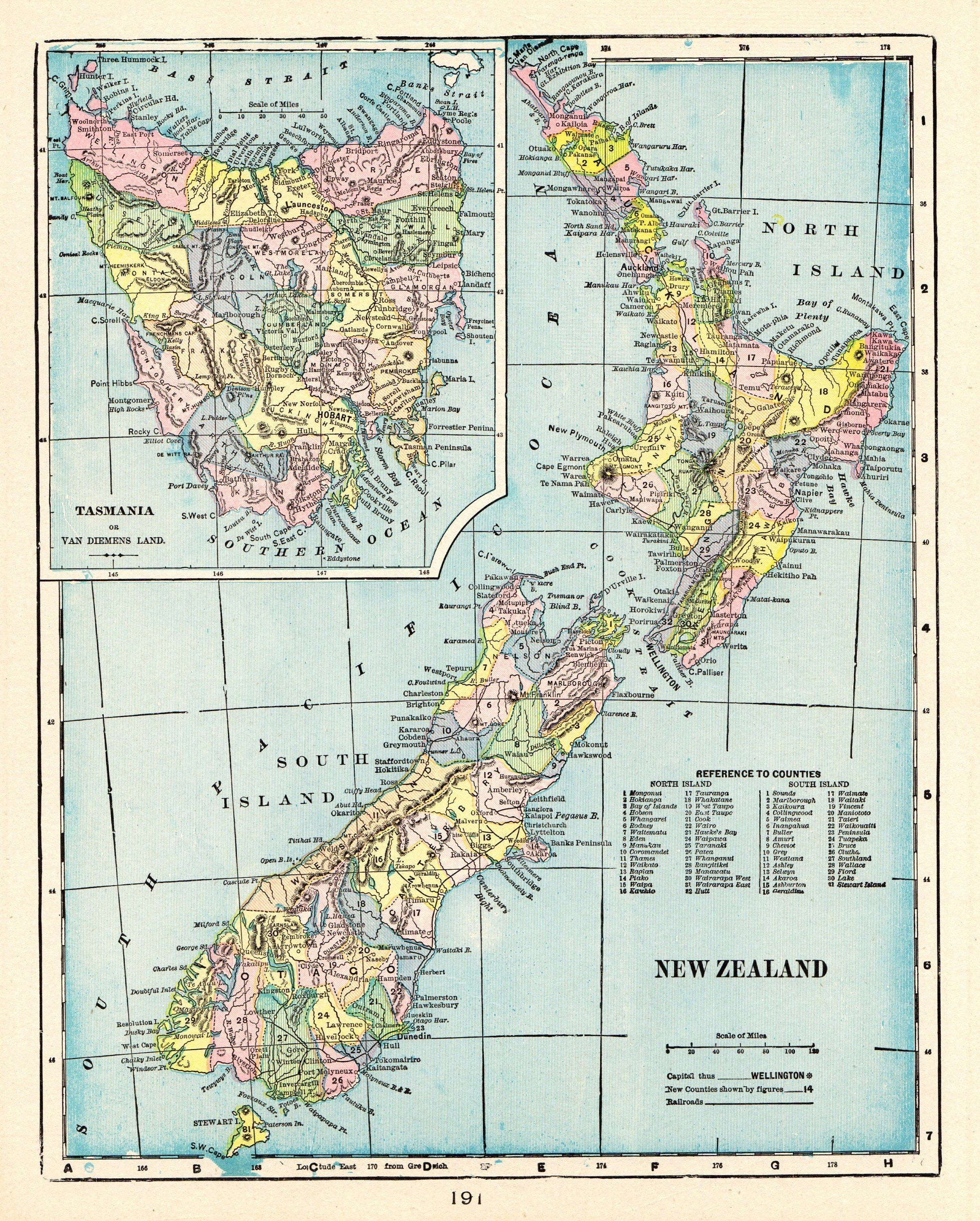 1902 Antique NEW ZEALAND Map Vintage Of New Zealand Print Over 100 Year Old Gallery Wall Art Birthday Gift For Graduation 9129 By Plaindealing On