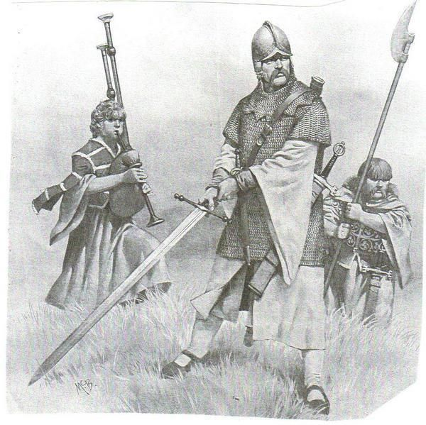 Norse Gaelic Galloglach Warrior With Attendant Kern And