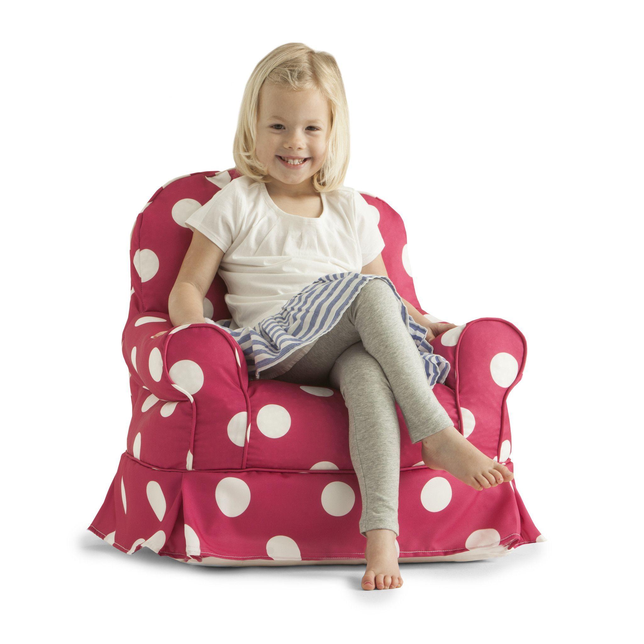 Big Joe Pink White Dot Gabardine Kids Babs Chair Kids