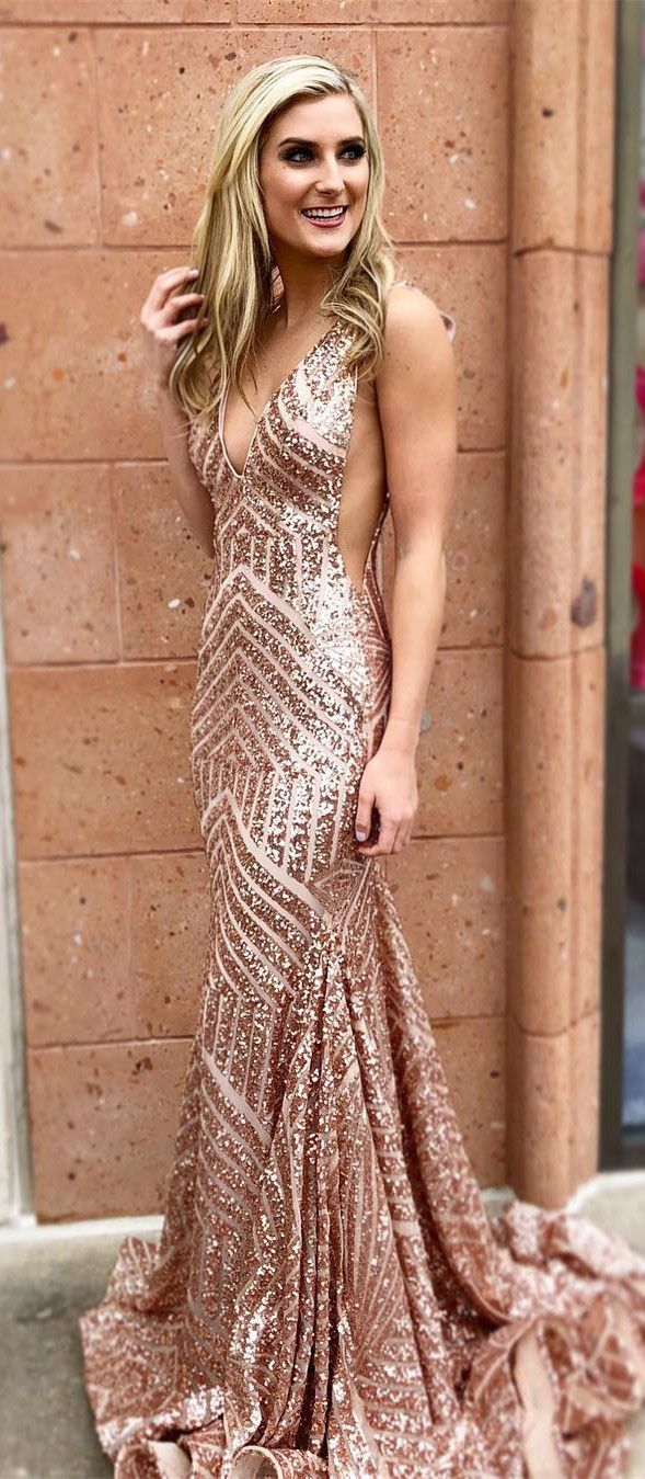 Sexy deep v neck rose gold sequins mermaid long prom dress evening