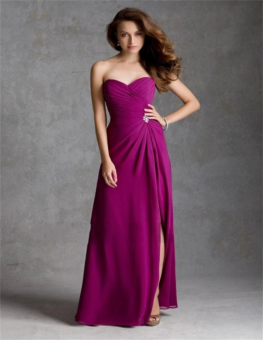 2015 Hot Sale Pink Fuschia Long Bridesmaid Dress Sweetheart Formal ...
